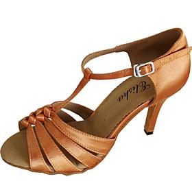 Customized Women's Latin Sandals Customized Heel Satin Dance Shoes
