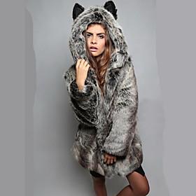 Women Faux Fur Top , Belt Not Included / Hoodie Fur Coat