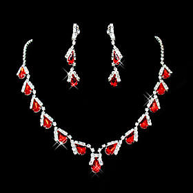 Women's Synthetic Ruby Briolette Jewelry Set - Cubic Zirconia, Imitation Diamond Drop Party Include Pendant Necklace Red For / Earrings