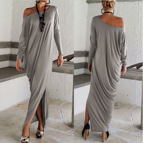 Women's Solid Color Dresses , Sexy / Party Asymmetrical / Round Long Sleeve
