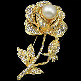 Women's Brooches - Pearl, Cubic Zirconia, Rose Gold Plated Roses, Flower Lux..