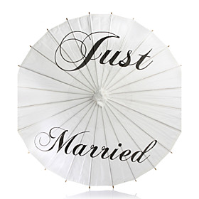 White Asian Traditional Wooden Wedding Parasol