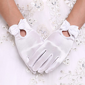 White Wrist Length Fingertips Glove Flower Tulle Bridal Gloves for Wedding Dress AccessoriesDIY Pearls and Rhinestones