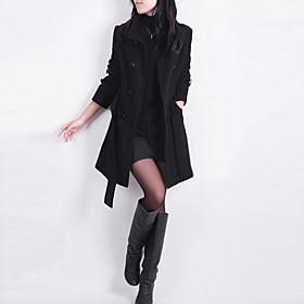 New Women Trench Woolen Coat Winter Slim Double Breasted Overcoat Winter Coats Long Outerwear for Women