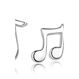 Women's Mismatched Stud Earrings - Sterling Silver, Silver Music Notes Fashi..