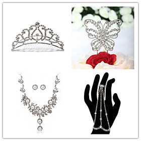 Wedding Suit(Headdress  Necklace  Earrings Bracelet  Cake Topper)