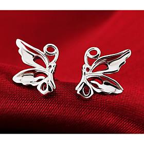 Women's Stud Earrings - Sterling Silver, Silver Butterfly, Animal Fashion, C..