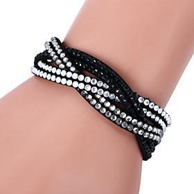 Women's Crystal Wrap Bracelet Leather Bracelet Leather Rhinestone Imitation Diamond Ladies Luxury Bracelet Jewelry Rose / Black / White / Light Blue For Christ
