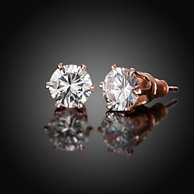 Earring Stud Earrings Jewelry Women Daily / Casual Zircon / Copper / Rose Gold Plated 1 pair Rose Gold