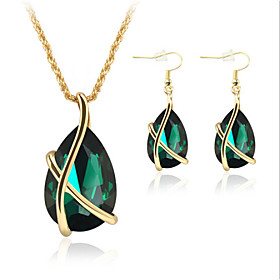 Jewelry Set Crystal Imitation Emerald Crystal Rose Gold Plated Teardrop Whit..