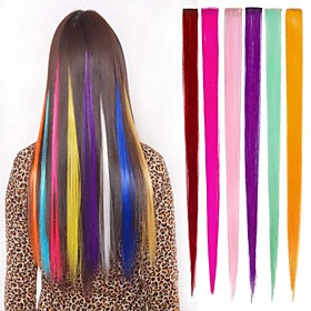 Long Synthetic Straight And Clip in Hair Extensions with 1 Clips 6 Color Available