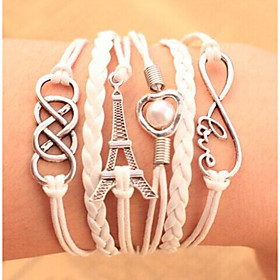 Bracelets Leather Charm Bracelet Multilayer Wrap Bracelet Towel  Love Infinity Jewelry Candy Color for Men/Women Christmas Gifts