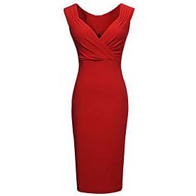 Women's Bodycon/Party V Neck Micro Elastic  Knee length Pencil Dress (Cotton Blends),Sleeveless Plus Size