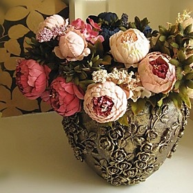 Artificial Flowers 1pcs Branch Silk Peonies Tabletop Flower