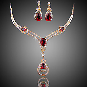 Women's Red Crystal Synthetic Ruby Jewelry Set Zircon, Cubic Zirconia, Gold Plated Drop Ladies, Luxury, Fashion Include Drop Earrings Pendant Necklace Red For