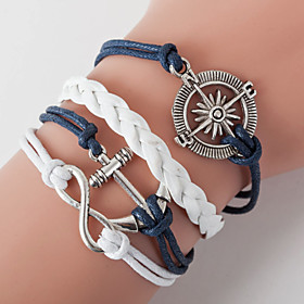 Retro Style Multilayer Blue Anchor Heart Love Weave Wrap Bracelet with Rivet
