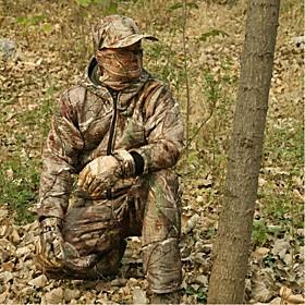 Image of Men Winter Camo Hunting Suit Camo Jacket Coat for Outdoor Hunting Fishing(JacketTrouserspeaked capNeckerchief)