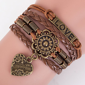 Retro Style Multilayer Brown Flower Heart Love Weave Wrap Bracelet with Rivet