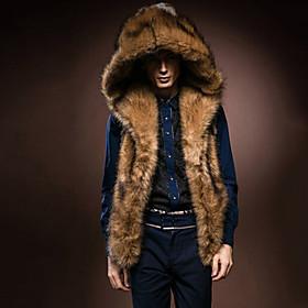 Men's Casual/Daily Fur Coat,Solid Sleeveless Winter Faux Fur Fox Fur