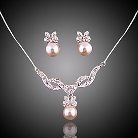 Women's Jewelry Set Imitation Pearl Elegant, Bridal Include Drop Earrings Pendant Necklace For Wedding Party Special Occasion Anniversary Birthday Engagement /