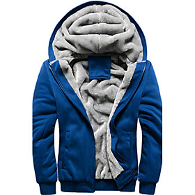 Men's Sports Outdoor Daily Modern Winter Jacket,Solid Color Hooded Long Sleeve Regular N/A 4685778