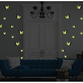 4Pcs 3D Cute Butterfly Glow in The Dark Luminous Fluorescent Plastic Wall Stickers Waterproof Background Wall Stickers