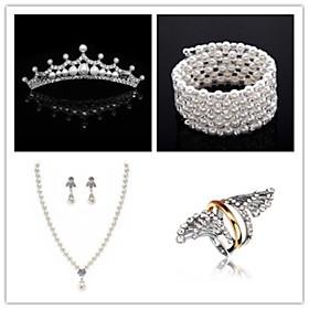 Wedding Suit(Headdress  Necklace  Earrings  Bracelet  Ring)