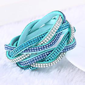 Women's Crystal Layered Stacking Stackable Wrap Bracelet Leather Bracelet - Leather, Rhinestone, Imitation Diamond Ladies, Luxury, Unique Design, Fashion, Mult