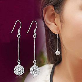 Crystal Synthetic Diamond Tassel Disco Ball Drop Earrings - Sterling Silver, Crystal, Imitation Diamond Luxury, Classic, Fashion Silver For Wedding Party Daily
