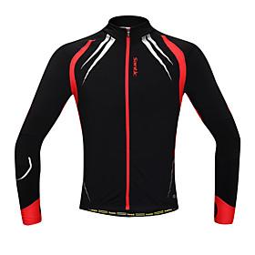 SANTIC Cycling Jacket Men's Long Sleeve BikeThermal / Warm / Windproof / Anatomic Design / Fleece Lining / Front Zipper / Reduces