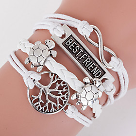 Retro Style Multilayer White Turtle Animal Heart Love Weave Wrap Bracelet with Rivet