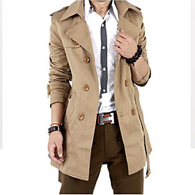 Image of Men Autumn Trench Coat Men Double Breasted Trench Coat Men Outerwear Casual Coat Men's Jackets Windbreaker SOUH9