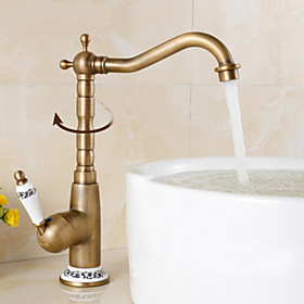 Kitchen faucet Single Handle One Hole Antique Brass Bar / Prep Centerset Antique
