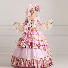 Image of One-Piece/Dress Classic/Traditional Lolita Steampunk/Victorian Cosplay Lolita Dress Pink Print/Vintage Long Sleeve Long Length Alice Party Dress