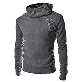Men's Plus Size Sports Casual/Daily Simple Hoodie Solid Stand Cotton Polyester Long Sleeve Spring Fall Winter 2626950