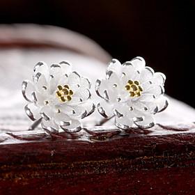 Women's Stud Earrings - Sterling Silver, Silver Flower Birthstones Gold / Si..