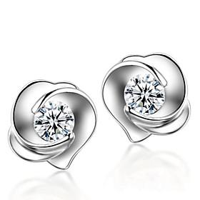 Crystal Stud Earrings - Sterling Silver, Crystal, Silver Roses, Flower Fashi..