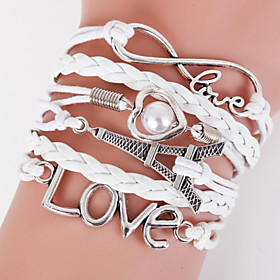 Retro Style Multilayer White Eiffel Tower Heart Love Weave Wrap Bracelet with Rivet