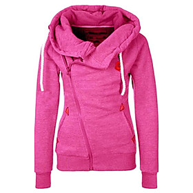 Women's European Style Solid Individuality Zipper Hoodies , Casual Hooded Long Sleeve