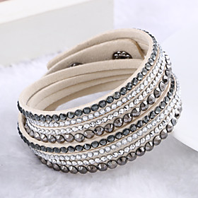 Women's Crystal Layered Stacking Stackable Wrap Bracelet Leather Bracelet Leather Rhinestone Imitation Diamond Ladies Luxury Unique Design Fashion Multi Layer