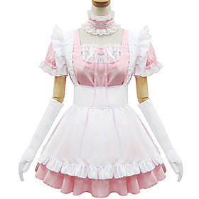 Image of One-Piece/Dress / Maid Suits Sweet Lolita / Classic/Traditional Lolita Lolita Cosplay Lolita Dress Pink Lace Short Sleeve Short Length