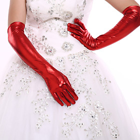 Elbow Length Gloves  Party Glove with DIY Artifical Pearls Rhinestones for Wedding Dress Accessories(Assorted Color)