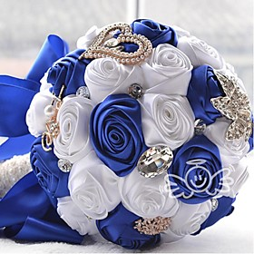 "Wedding Flowers Round Roses Bouquets Wedding Satin 8.27""(Approx.21cm)"