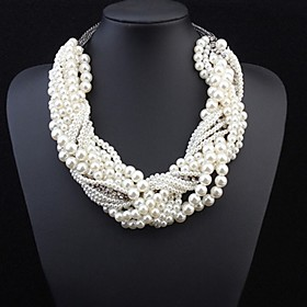 Women's Pearl Layered Twisted Statement Necklace Pearl Statement Ladies Luxury White Necklace Jewelry For Wedding Party Special Occasion Cosplay Costumes