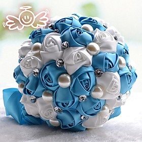 """Wedding Flowers Round Roses Bouquets Wedding Satin 7.87""""(Approx.20cm)"""