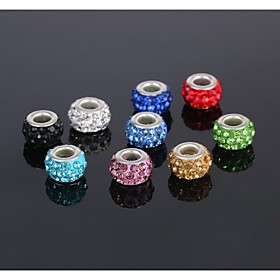 5pcs Schmuck Silber Perle Charme Europaischen Legierungskristall-Korn-passende Halskette Armband Ohrring (senden 5 verschiedenen Farben)
