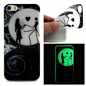 $Για Θήκη iPhone 5 Λάμπει στο σκοτάδι tok Πίσω Κάλυμμα tok Κινούμενα σχέδια Μαλακή TPU iPhone SE/5s/5