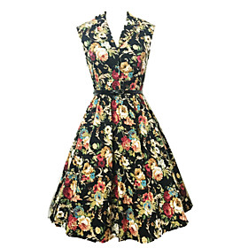 Image of Women's Vintage Print Swing Dress , V Neck Knee-length Cotton