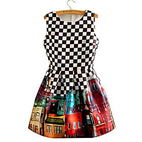 Women's Print/Check Black/White Dress, Vintage Round Neck Sleeveless Pleated