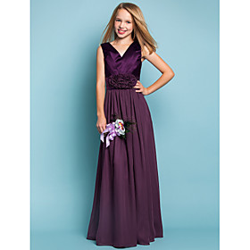 Sheath / Column V-neck Floor Length Chiffon Junior Bridesmaid Dress with Flower by LAN TING BRIDE
